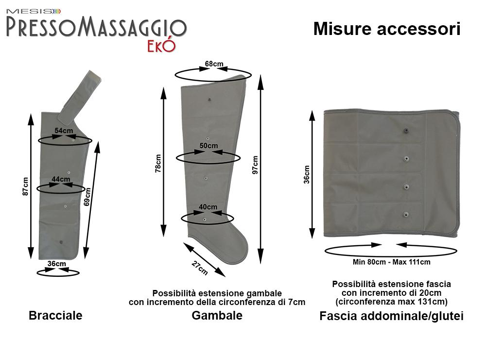 PressoMassaggio: misure degli accessori